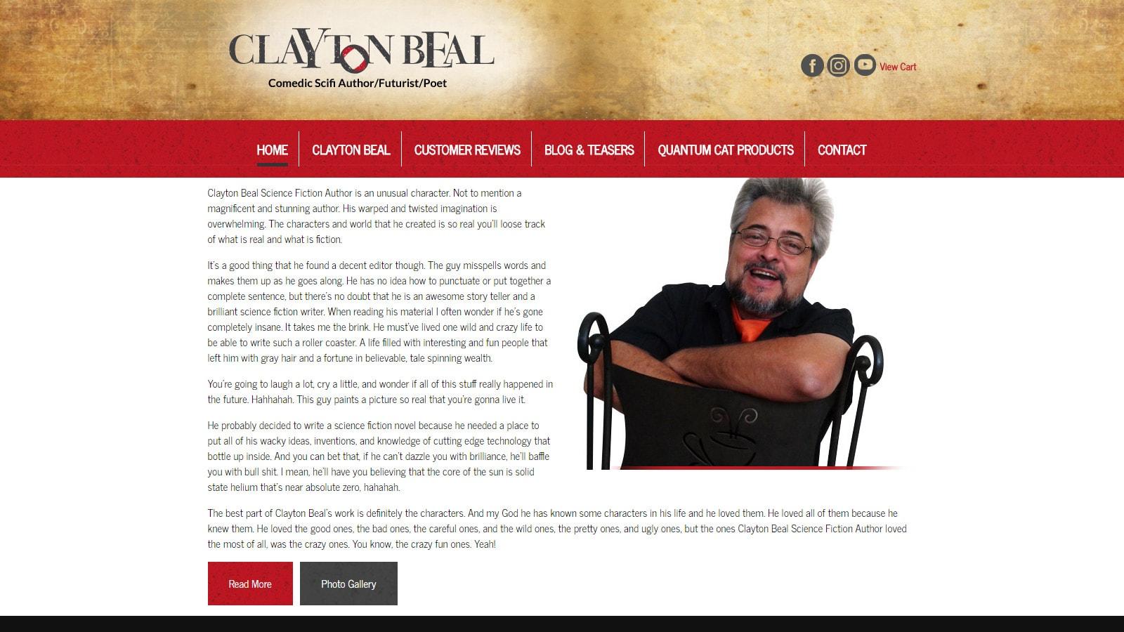 Clayton Beal Author Desktop View