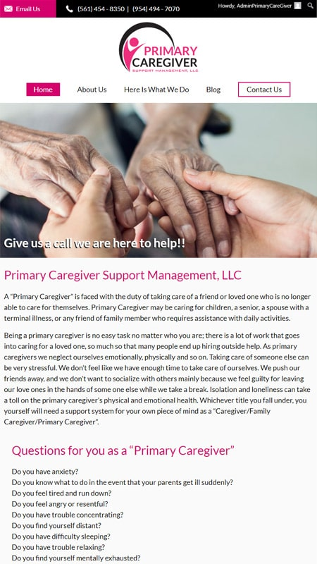 Web Design for Primary Caregiver Support Management iPad View