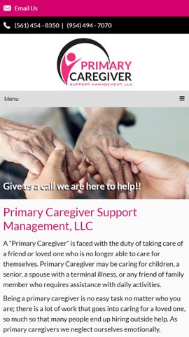 Web Design for Primary Caregiver Support Management Mobile Phone View