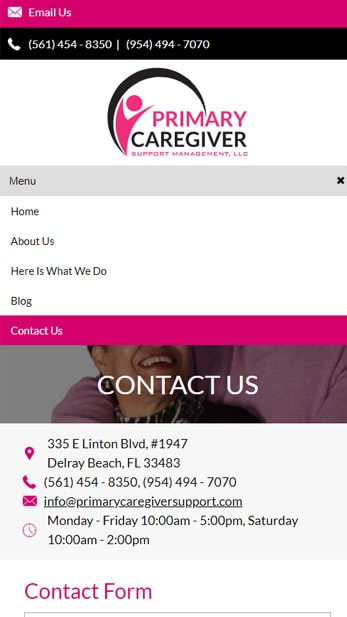 Web Design for Primary Caregiver Support Management Mobile Friendly View