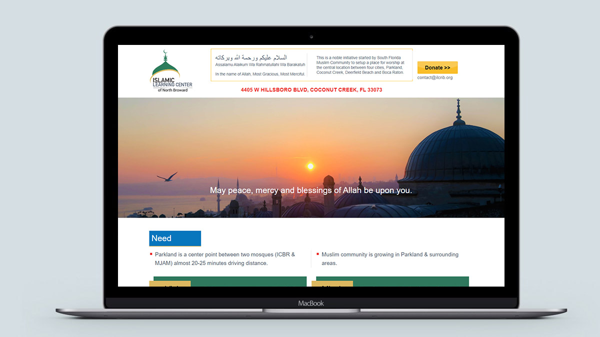 Islamic Learning Center Desktop View