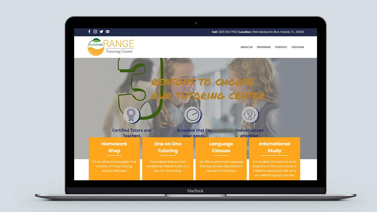 Orange Tutoring Center Desktop View